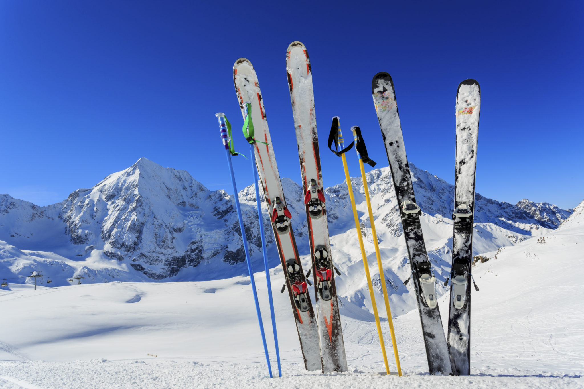 Ski equipments on snow